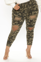 Army Green Fashion Camouflage Print Ripped Plus Size