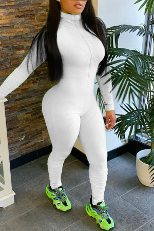 White Casual Long Sleeve Turtleneck Sports Jumpsuit