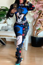 Blue Polyester adult Casual Fashion Letter Print Slim fit Patchwork Character Two Piece Suits pencil Long