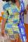 Blue Casual Plaid Split Joint Turndown Collar Long Sleeve Dress Dresses