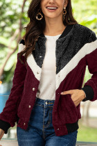 Wine Red Fashion Casual Patchwork Single Breasted Teddy Coats