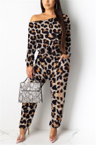 Leopard print Fashion Casual Camouflage Leopard grain Print Polyester Long Sleeve one shoulder collar