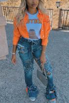 Orange Street Style Solid Denim Jacket (Only Jacket)