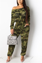 Green Fashion Casual Camouflage Leopard grain Print Polyester Long Sleeve one shoulder collar