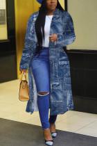 The cowboy blue Fashion Print Split Joint Turndown Collar Outerwear