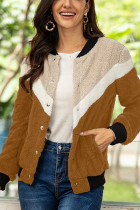 Khaki Fashion Casual Patchwork Single Breasted Teddy Coats