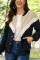 Dark Blue Fashion Casual Patchwork Single Breasted Teddy Coats