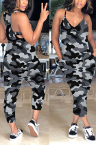Grey Sexy Slip V-neck Camouflage Jumpsuit