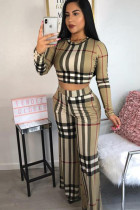 multicolor Cotton Sexy Fashion adult Plaid Two Piece Suits Print Straight Long Sleeve