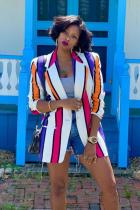 Multi-color Notched Print contrast color Striped Polyester Striped Long Sleeve  Blazer & Suits &Jacket