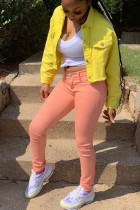 Yellow Street Style Solid Denim Jacket (Only Jacket)