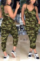 Green Sexy Slip V-neck Camouflage Jumpsuit