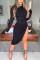 Black Elegant Solid Split Joint Slit O Neck Pencil Skirt Dresses