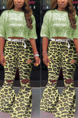 Yellow Fashion Camouflage Print Flared Trousers