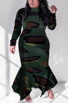 Camouflage Fashion Casual Plus Size Camouflage Print Basic O Neck Printed Dress