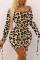 Brown Street Leopard Fold Oblique Collar Dresses