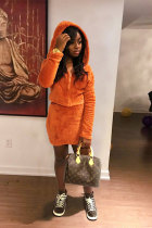 Orange Fashion Sexy Long Sleeves Hooded skirt chain  Two Piece Dresses