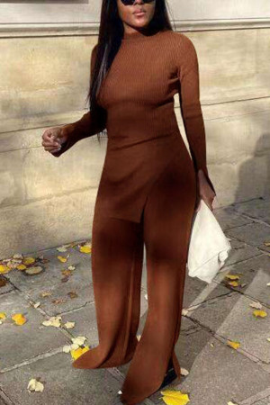 Light Coffee Casual Solid Slit O Neck Long Sleeve Two Pieces