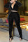 Black Sexy Solid Slit Fold V Neck Long Sleeve Two Pieces
