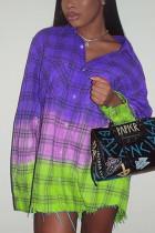 Purple Casual Plaid Turndown Collar Tops