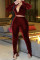 Wine Red Sexy Solid Slit Fold V Neck Long Sleeve Two Pieces