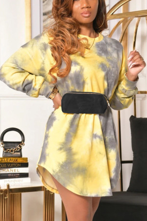 Yellow Sweet Tie Dye O Neck Dresses
