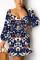 Navy Blue Casual Print Draw String O Neck Dresses