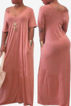 Pink Fashion Casual Cap Sleeve Short Sleeves V Neck Straight Floor-Length Solid