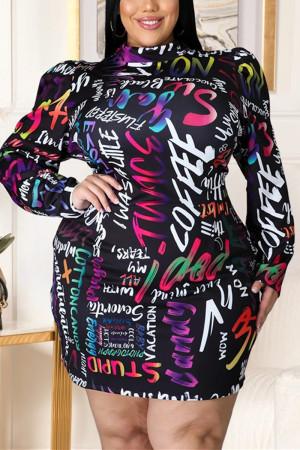 Black Fashion Sexy Plus Size Print Basic Mandarin Collar Printed Dress