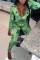 Green Casual Print O Neck Skinny Jumpsuits