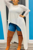 White Fashion Casual Plus Size Irregular Long Sleeve Dress