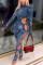Blue Sexy Bandage O Neck Skinny Jumpsuits