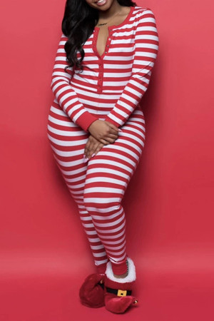 Red Casual Living Patchwork Print Basic Plus Size Jumpsuits