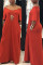 Red Fashion Casual Cap Sleeve Short Sleeves V Neck Straight Floor-Length Solid