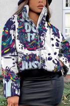 White Fashion Casual Print Basic Mandarin Collar Outerwear