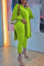 Fluorescent Green Elegant Solid Slit O Neck Long Sleeve Two Pieces