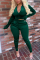 Black Green Casual Solid Split Joint O Neck Long Sleeve Two Pieces