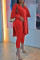Red Elegant Solid Slit O Neck Long Sleeve Two Pieces