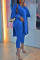 Blue Elegant Solid Slit O Neck Long Sleeve Two Pieces