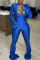 Blue Sexy Solid Fold V Neck Jumpsuits