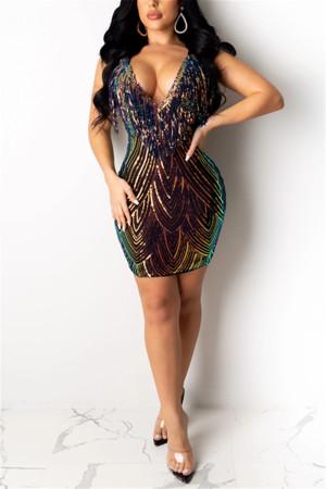 Gold Fashion Sexy Cold Shoulder Sling Dress