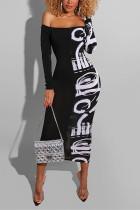 Black Fashion Sexy Print Split Joint Bateau Neck Printed Dress