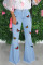 Baby Blue Work Daily Print Butterfly Print Plus Size