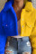 Blue Yellow Work Daily Solid Split Joint Turndown Collar Outerwear