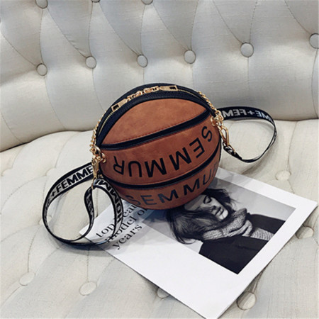 Brown Fashion Stitching Letter Basketball Single Shoulder Bags