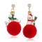Red Christmas Creative Snowman Ball Earrings