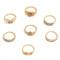 Gold Stylish Trendy 7-piece Metal Rings