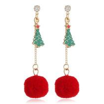 Red Christmas Tassel Pendant Earrings
