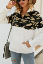 White Fashion Patchwork Long Sleeve Camouflage Print Top