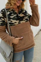 Khaki Fashion Patchwork Long Sleeve Camouflage Print Top